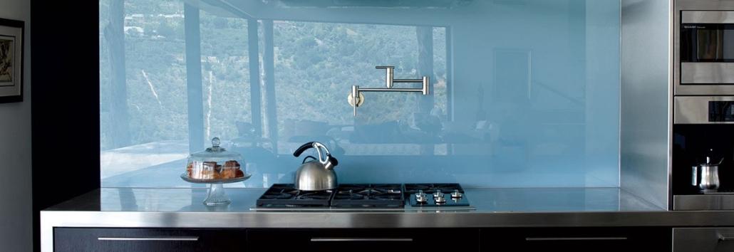 Glazen keukenwand voorbeeld